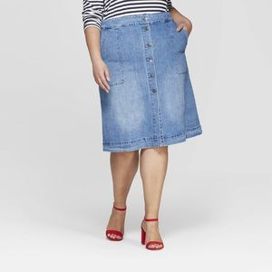 Button Front Jean Midi Skirt | PLUS